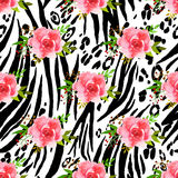 Abstract animal seamless pattern with flowers drawing watercolor Royalty Free Stock Photography
