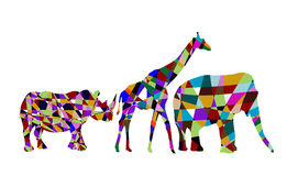 Abstract animals of africa. Colorful abstract wild animals on a white background vector illustration