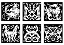 Abstract animals and birds in celtic style. Celtic animals and birds with traditional irish ornament on black background for tattoo or heraldry design royalty free illustration