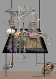 Abstract animals and an old lady sitting on a huge table. Abstract raster illustration over a gray background Royalty Free Stock Images