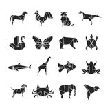 Abstract animals silhouettes with line details. Animal icons isolated on white background. Set of tattoo dog and fish, turtle and rooster illustration royalty free illustration