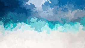 Animated twinkling stained background seamless loop video - watercolor splotch effect blue turquoise white color stock illustration