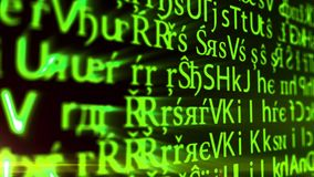 Abstract animation background pattern of a camera moving through computer monitor screen source code bug or ascii code grid stock video footage