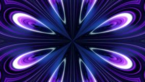 Abstract animation of blue, black and white flower kaleidoscope. Abstract multicolored motion graphics background. stock illustration