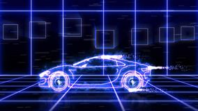 Abstract animation of blue futuristic super car made with light beam wireframes on futuristic city background scene