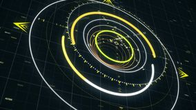 Abstract animation with circles in spy style. Animation. Computer graphics circles of strokes in futuristic style. Neon