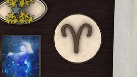 Abstract animation of 3d astrological Zodiac sign Aries hanging on the wall of threedimensional room. Animation. It is