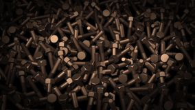 Abstract animation of dark metal bolts stock footage