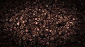 Abstract animation of dark metal nuts stock video