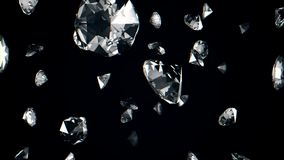 Abstract animation of falling diamonds in slow motion on a black background. 3d animation. royalty free illustration