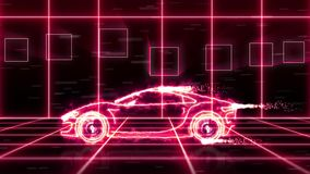 Abstract animation of a futuristic super car made with light beam wireframes on futuristic city background scene stock video footage