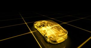 Abstract animation of a futuristic yellow car in 4K. UHD 3d render stock illustration