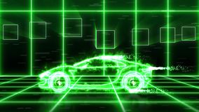 Abstract animation of green energy futuristic super car made with green light beam wireframes on futuristic city background scene. stock video footage