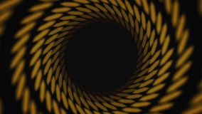 Abstract animation of hypnotizing black and yellow striped tunnel on the black background. Animation. Colorful animation. Abstract animation of hypnotizing black stock illustration