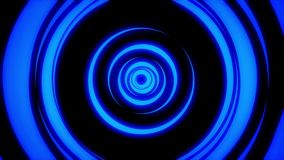 Abstract animation of light neon tunnel formed by colorful moving rings on black background. Animation. Colorful royalty free illustration