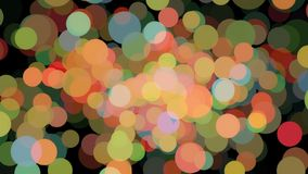 Abstract animation of many colored particles of bubbles floating chaotically and blinking on the black background royalty free stock photography
