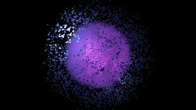 Abstract animation of multicolored particles bright explosion and extension on th black background. Animation. Beautiful stock illustration