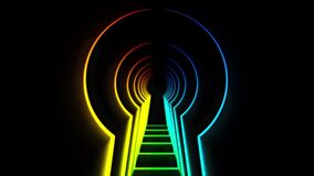 Abstract animation neon lock hole. Animation. Neon tunnel in shape of door opening for key. Keyhole tunnel on black