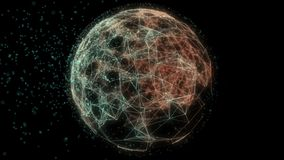 Abstract animation of spherical networking lines background. stock video