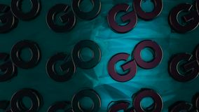 Abstract animation of threedimensional chrome logotypes `Go` placing on glossy turquoise surface. Animation. Motivation