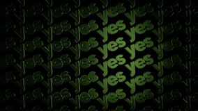 Abstract animation of threedimensional metal logotypes with words `Yes` moving on black background. Animation