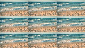 Abstract animation wall. Multicam group video montage. Water and waves sea rolls on sunny day and sand beach. Natural sea ocean landscape backdrop scenery stock video