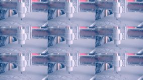 Milling machine carves the form on a white surface closeup. Abstract animation wall. Work drill milling machine on white surface close-up. Milling machine stock footage