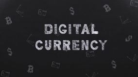 Title Digital Currency on black background with money symbols stock video