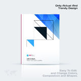 Abstract annual report, business vector template. Brochure desig. N, cover modern layout, flyer in A4 with blue triangles, arrows for tech, science, finance with royalty free illustration