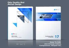 Abstract annual report, business vector template. Brochure desig. N, cover modern layout, flyer in A4 with blue triangles, arrows for tech, science, finance with vector illustration
