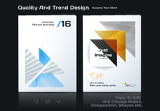 Abstract annual report, business vector template. Brochure desig. N, cover modern layout, flyer in A4 with colourful triangles, arrows for tech, science, finance stock illustration