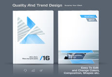 Abstract annual report, business vector template. Brochure desig. N, cover modern layout, flyer in A4 with colourful triangles, arrows for tech, science, finance royalty free illustration
