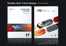 Abstract annual report, business vector template. Brochure desig. N, cover modern layout, flyer in A4 with red rectangles and diagonal shapes for tech, science Royalty Free Stock Image