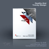 Abstract annual report, business vector template. Brochure desig. N, cover modern layout, flyer in A4 with red triangles, arrows for tech, science, finance with vector illustration