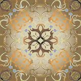 Abstract antique Baroque style gold vector seamless pattern. Vintage ornamental ornate Damask background. Creative repeat floral. Backdrop. Elegance interesting royalty free illustration