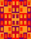 Abstract Apartment House. Colorful geometrical shapes of rectangles and squares in orange, purple, yellow, red, and maroon colors to form doors and windows Stock Image
