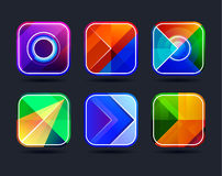 Abstract app icons frames. Abstract app icons background frames set. Geometric abstract colorful frames. Vector illustration royalty free illustration