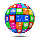 Abstract APP Sphere with Application Icons Stock Images