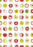 Abstract Appelen Vectorpatroon Geometrische Eenvoudige Vruchten Roze, Rode en Groene Appelen met Rode Harten Witte achtergrond vector illustratie
