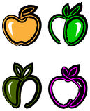 Abstract apple design set. Abstract line art apple design set vector illustration