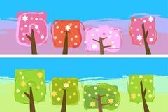 Abstract apple garden banner Stock Image
