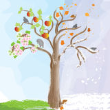 Abstract apple tree as symbol of  seasonal changes Royalty Free Stock Image
