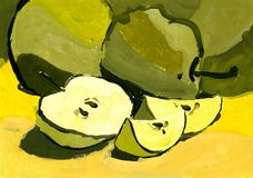 Abstract apples. A slice of Apple. Apples painted in gouache or watercolor.  stock illustration