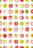 Abstract Apples Vector Pattern. Geometric Simple Fruits. Pink, Red and Green Apples with Red Hearts. White Background. vector illustration