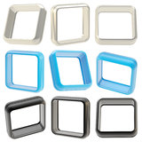 Abstract application frame boarders isolated. Abstract application frame copyspace square boarders isolated on white, set of blue, chrome and black, three each royalty free illustration