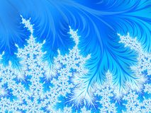 Abstract Aqua Blue Christmas Tree Branch with White Snowflakes. Frost floral patterns. Copy space for text. Winter background. Digital art Royalty Free Stock Photography