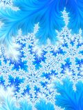 Abstract Aqua Blue Christmas Tree Branch with White Snowflakes. Floral frozen  patterns. Copy space for text. Winter background.Digital art Royalty Free Stock Images
