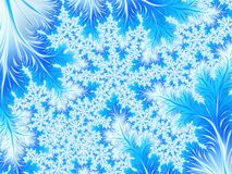 Abstract Aqua Blue White Christmas Tree Branch with Snowflakes. Royalty Free Stock Photography