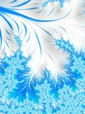 Abstract Aqua Blue White Christmas Tree Branch with Snowflakes. Stock Photo