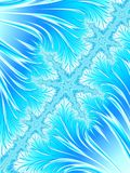 Abstract Aqua Blue White Christmas Tree Branch with Snowflakes. Stock Images